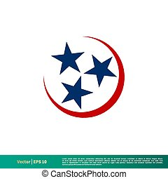 Three Stars, Tennessee Flag Icon Vector Logo Template Illustration Design. Vector EPS 10.