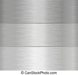 three steel banners with texture