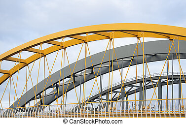 Three steel bridges in a row
