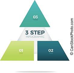 Three step pyramid infographic