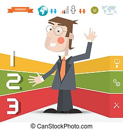 Three Steps Infographic Layout with Business Man