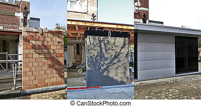Three steps of construction - New modern extension of a ...