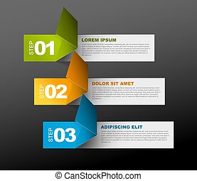 Three steps template - Vector Paper Progress template with...