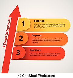 Three steps to success. Vector illustration. Sequence number...