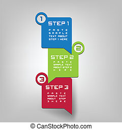 Three steps - Vector paper progress steps for tutorial or...