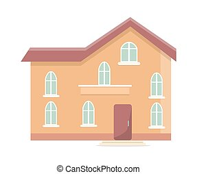 Three Storey Building with Oval Windows and Door - Three...