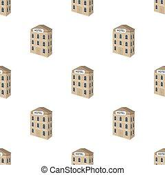three-storey, hotel., arquitectónico, edificio, de, el, hotel, solo, icono, en, caricatura, estilo, vector, símbolo, ilustración común, web.