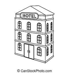 three-storey, hotel., arquitectónico, edificio, de, el, hotel, solo, icono, en, contorno, estilo, vector, símbolo, ilustración común, web.