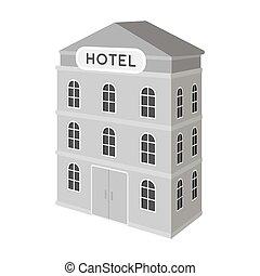 three-storey, hotel., arquitectónico, edificio, de, el, hotel, solo, icono, en, monocromo, estilo, vector, símbolo, ilustración común, web.