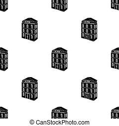 three-storey, hotel., arquitectónico, edificio, de, el, hotel, solo, icono, en, negro, estilo, vector, símbolo, ilustración común, web.