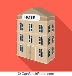 three-storey, hotel., arquitectónico, edificio, de, el, hotel, solo, icono, en, plano, estilo, vector, símbolo, ilustración común, web.