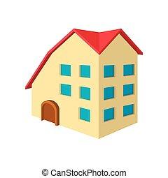 Three-storey house cartoon icon