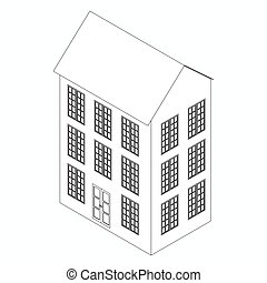 Three-storied building icon, isometric 3d style