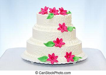 Three-storied wedding cake - Three-storied white wedding ...
