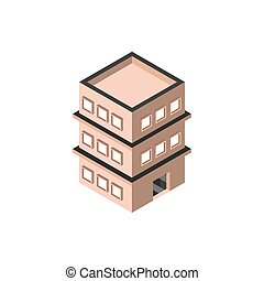 three story building private isometric style