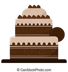 Three-story cake with chocolate isolated on a white background. Vector illustration.