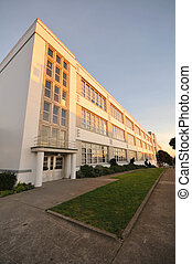 Three story school building in perspective - Large three ...