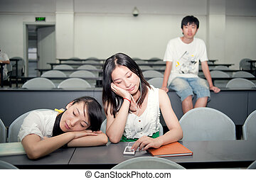 Three students in the classroom