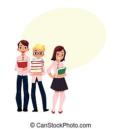 Three students, pupils, school kids with books