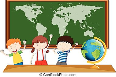 Three students study geography in class illustration