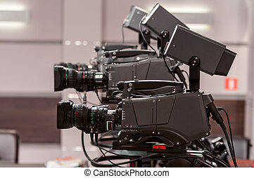 Three studio TV camera