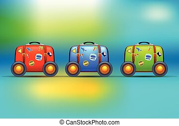 three suitcases with wheels