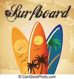 surfboard - three surfboards with different colors and...