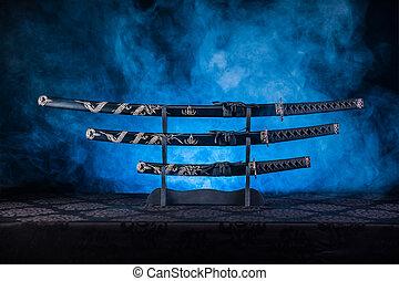 Three swords on stand, blue smoke behind - Katana, wakizashi...