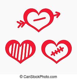 Three symbolic hearts