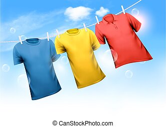 Three T-shirts hanging on rope against blue sky background with clouds. Vector illustration