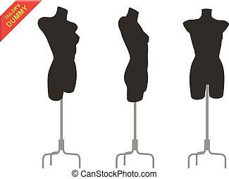 Three tailor dummy - Three female black tailor s dummy in...