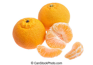 tangerine oranges - three tangerine oranges isolated on...