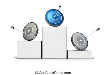 three targets onto a podium two darts are grey and the first one is blue, there is an arrow hitting each target, image is over a white background