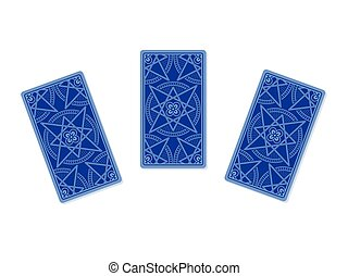 Three tarot cards reverse side isolated on white background....