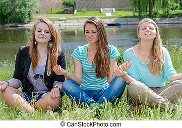 Good Three teen girls kissing necessary words