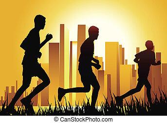 run - three teen running on sunset in urban