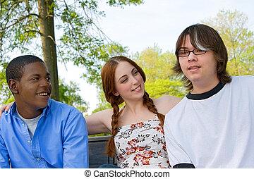 Three Teenage Friends Outdoors