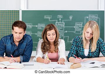 Three teenage students hard at work