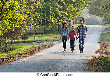 Three teens on road