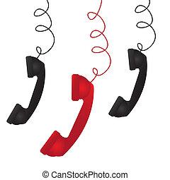 three telephone over white background vector illustration