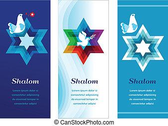 three template cards with jewish symbols. illustration