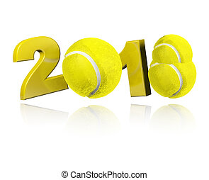 Three Tennis balls 2018 Design with a white Background