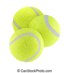 Three tennis balls isolated on white background with clipping path