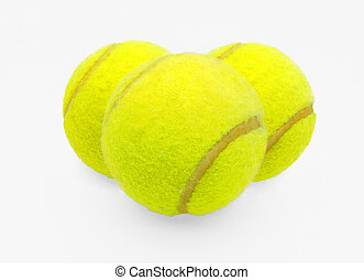 Three tennis balls on a white background