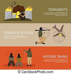 Three Terrorism Flat Banner Set