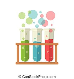 Three test tubes - Colored liquids in three test tubes, Flat...