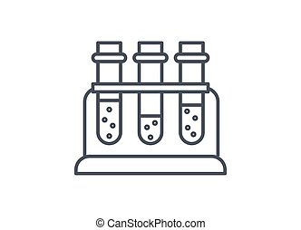 Three test tubes with chemical solutions in a rack
