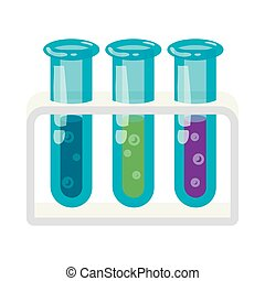 Three test tubes with colored liquids icon