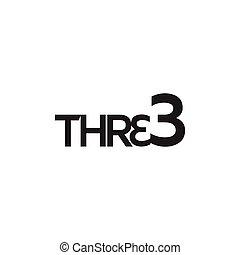 Three text logo vector template. Number logo text element