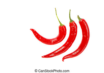 Three thin elongated hot red chili pepper isolated